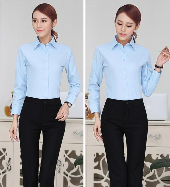 天蓝色女士工作服衬衫